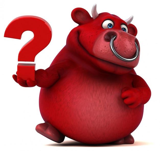 Śmieszny 3d czerwony byk trzyma znaka zapytania