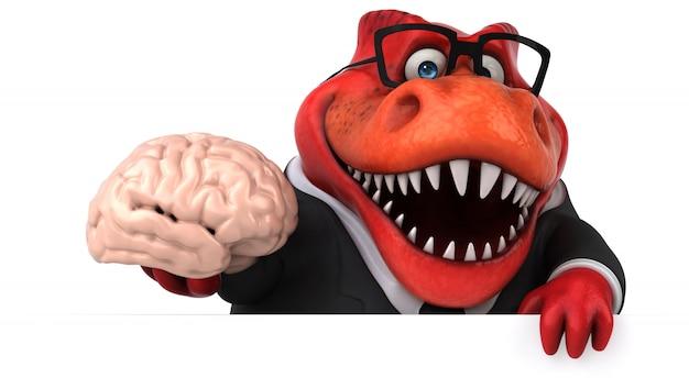 Śmieszny 3d czerwony dinozaur charakter trzyma mózg
