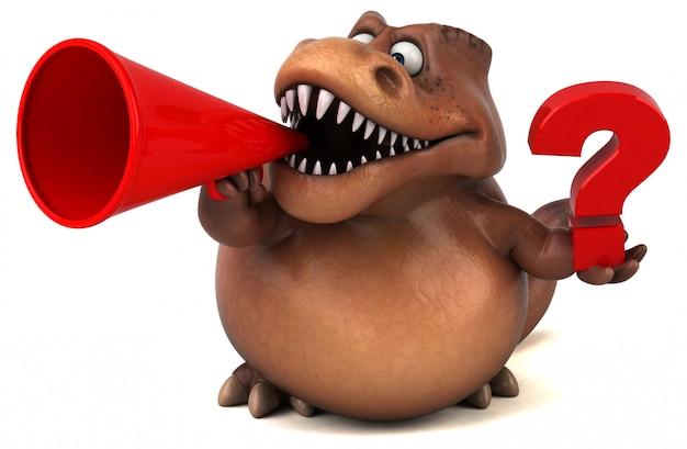 Śmieszny 3d dinozaura charakter trzyma znak zapytania opowiada w megafonie