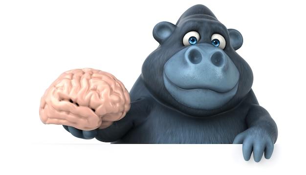 Śmieszny 3d goryl trzyma mózg