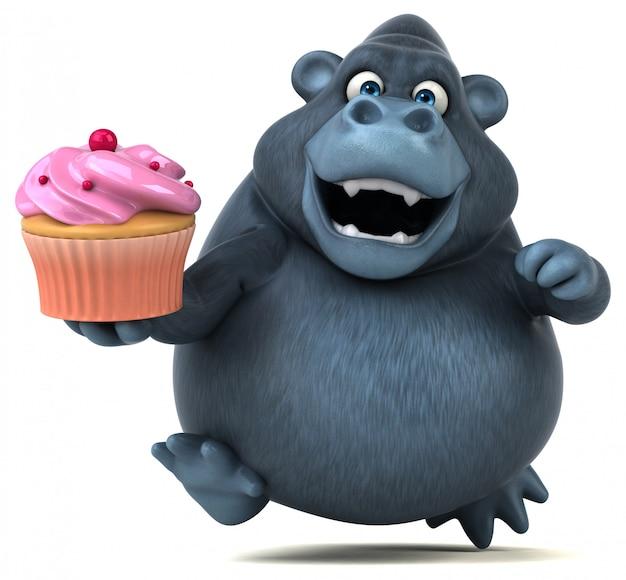 Śmieszny 3d goryl trzyma tortowego filiżanka