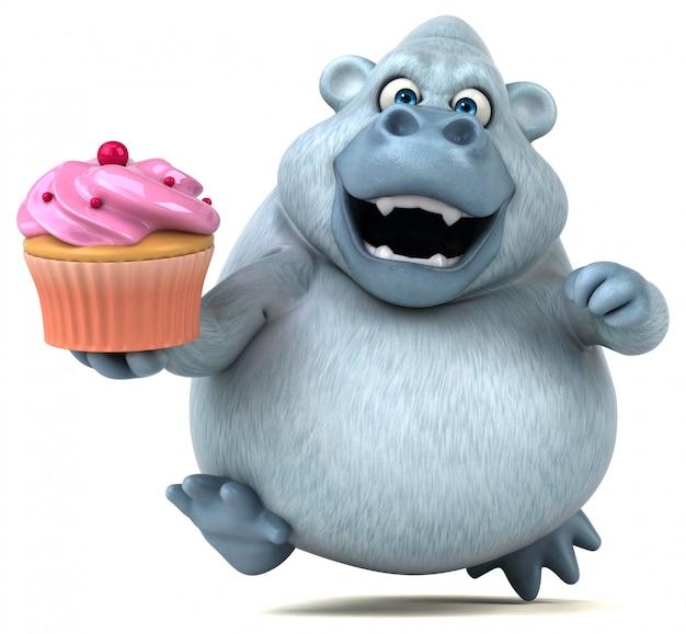 Śmieszny 3d gruby goryl charakter trzyma tortowego filiżanka