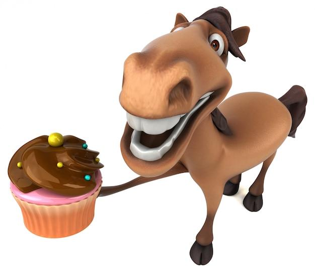 Śmieszny 3d koński charakter trzyma filiżanka tort