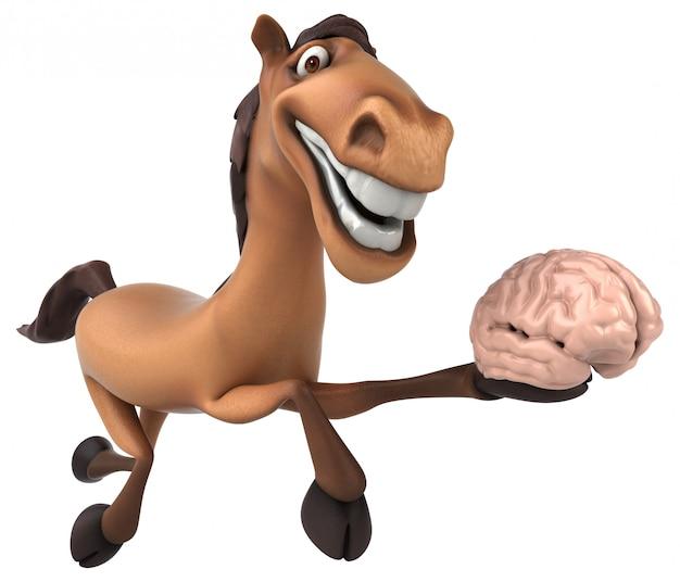 Śmieszny 3d koński charakter trzyma mózg