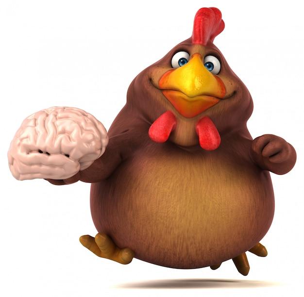 Śmieszny 3d kurczak trzyma mózg