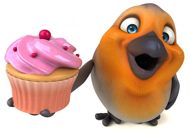 Śmieszny 3d mały ptak trzyma filiżanka tort