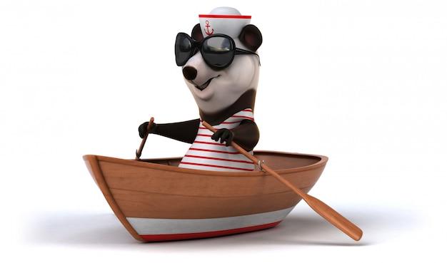 Śmieszny 3d panda niedźwiedź w łódkowatym wioślarstwie