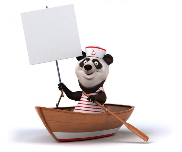 Śmieszny 3d panda niedźwiedź w łodzi trzyma plakat
