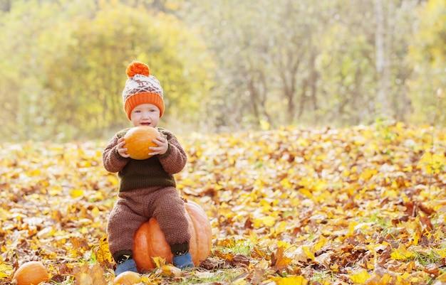 Śmieszny mały chłopiec z pomarańczową dynią w jesiennym parku