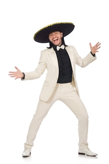 Śmieszny meksykanin w kostiumu i sombrero odizolowywającym na bielu