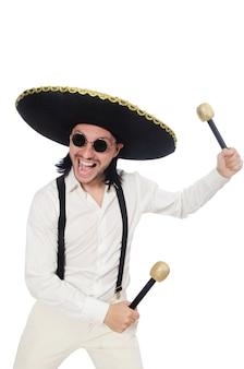 Śmieszny meksykanin z marakasami odizolowywającymi na bielu