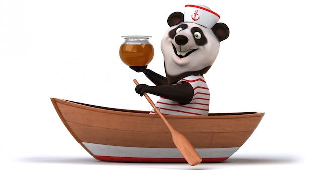 Śmieszny niedźwiedź panda 3d w łodzi ze słoik miodu