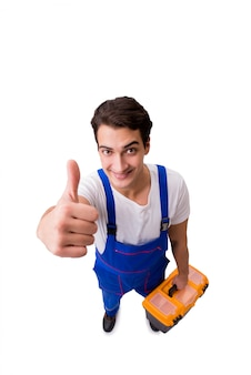 Śmieszny repairman z narzędziami odizolowywającymi na bielu