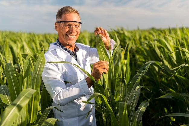 Smiley mężczyzna w średnim wieku w polu kukurydzy