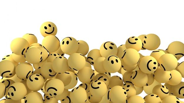 Smiley reactions emoji 3d render