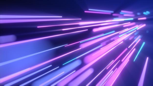 Smukłe neonowoniebieskie smugi światła