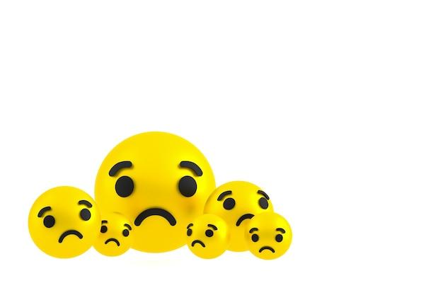 Smutna ikona facebook reaguje na renderowanie emoji, symbol balonu mediów społecznościowych na białym tle