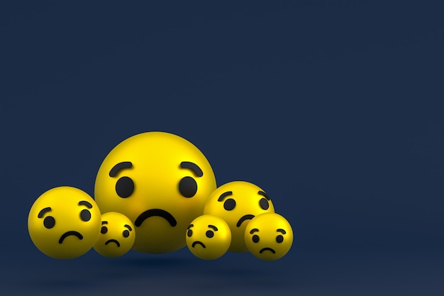 Smutna ikona facebook reaguje na renderowanie emoji, symbol balonu mediów społecznościowych na niebieskim tle