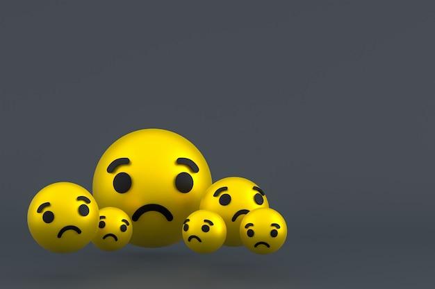 Smutna ikona facebook reaguje na renderowanie emoji, symbol balonu mediów społecznościowych na szarym tle