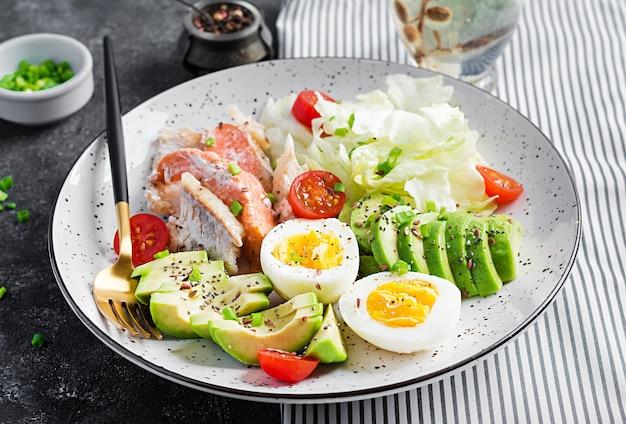 Śniadanie z dietą ketogeniczną. jajka, ryby i awokado, sałata i nasiona.
