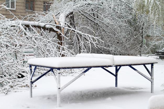 Śnieg gwałtownie spadł na wiosnę.