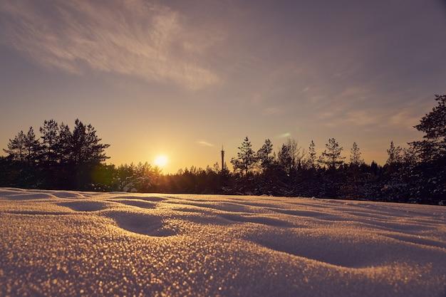 Śnieg na pierwszym planie w mroźny zimowy wieczór o zachodzie słońca