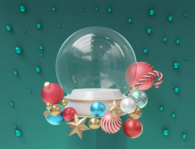 Śnieżna kula ziemska z bożenarodzeniową dekoracją dla szablonu pokazu, 3d rendering.