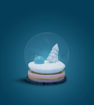 Śnieżna kula ziemska z zabawkami noworocznymi i białym świerkiem w śniegu na białym tle na niebieskim tle. renderowania 3d. szablon układu, karty z pozdrowieniami