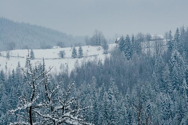 Śnieżna zima górska wioska krajobraz