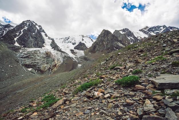 Śnieżny gigantyczny pasmo górskie pod chmurnym niebieskim niebem. skalista grań ze śniegiem. ogromny lodowiec. lodowaty stok ze strumieniami wody. bogata roślinność wyżynna. atmosferyczny minimalistyczny krajobraz przyrody.