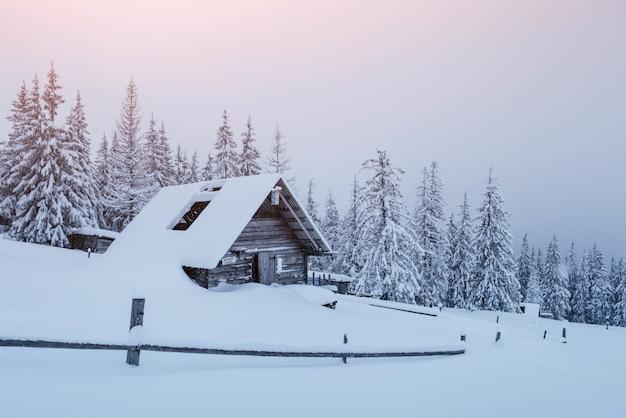 Śnieżny las w karpatach. mały przytulny drewniany dom pokryty śniegiem. pojęcie spokoju i zimowej rekreacji w górach. szczęśliwego nowego roku