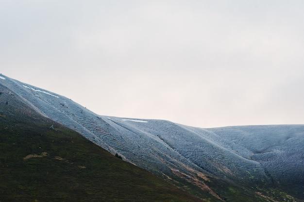 Śnieżysty góra wierzchołek z drzewami przy karpackimi górami na ukraina, europa.