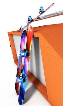 Snowboard skoki w pobliżu renderowania 3d na białym tle