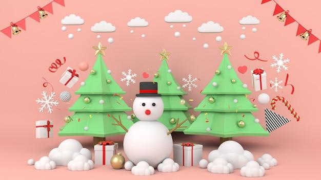 Snowman stojący na boże narodzenie