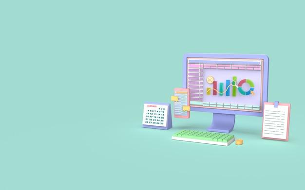 Social media komputerowy marketing cyfrowy wykres słupkowy koncepcja renderowania 3d