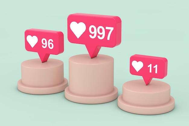 Social media network love i like heart icons na górze cokołu, sceny, podium lub kolumny na zielonym tle. renderowanie 3d