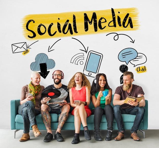 Social media rozrywka styl życia koncepcja graficzna