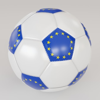 Socker biały piłka z flagą europy na białym tle