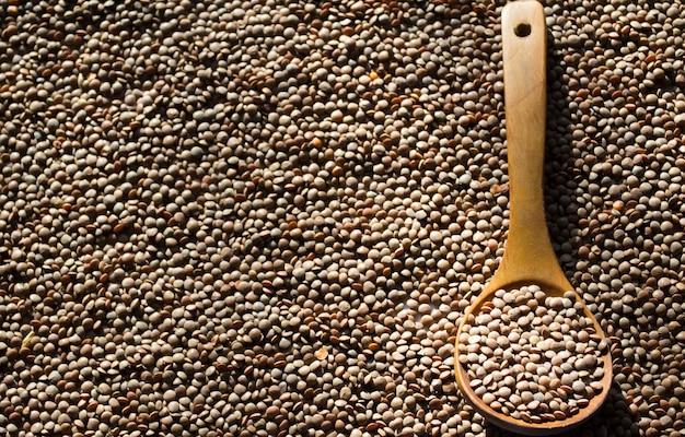 Soczewica na drewnianej łyżce ekologicznej tle dietetyczny przykład dla wegan