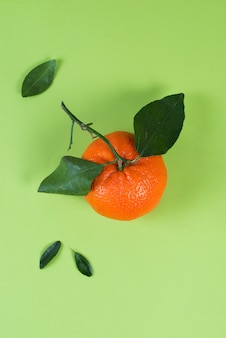 Soczysta letnia mandarynka z liśćmi na kolorowym zielonym tle, leżała płasko, minimalizm