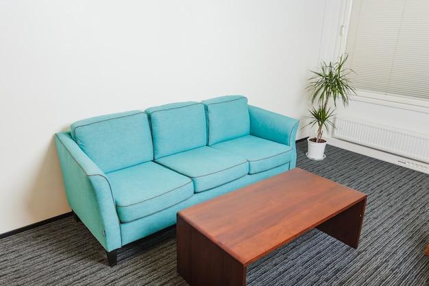 Sofa i stół stojący na szarym dywanie