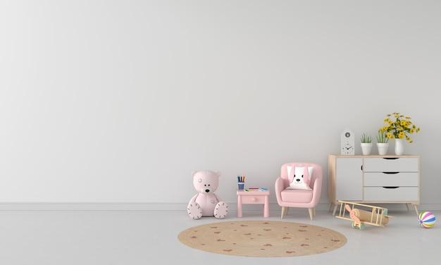 Sofa i stół w białym pokoju dziecięcym z miejscem na kopię