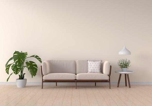 Sofa i stół w salonie w kolorze brązowym