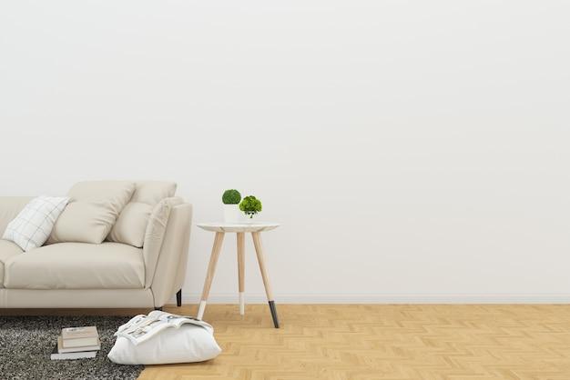 Sofa książka drewno podłoga biurko pokój dzienny jasne tło makiety szablon