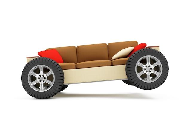 Sofa na kołach z poduszkami