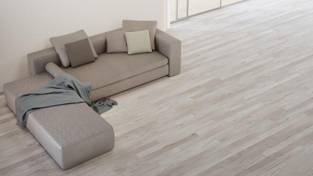 Sofa przy białej ścianie jasnego salonu w nowoczesnym domu lub mieszkaniu