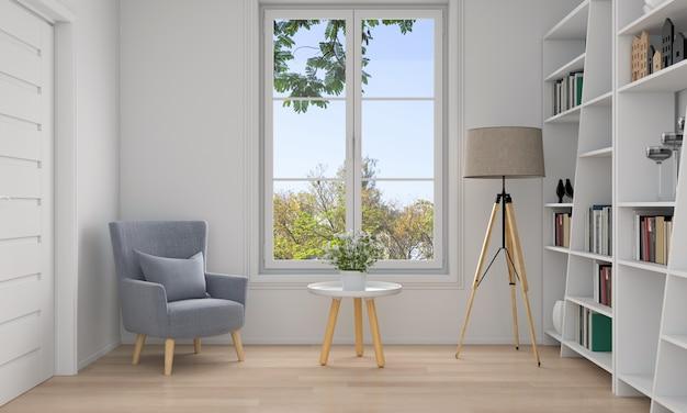 Sofa w białym salonie wnętrza