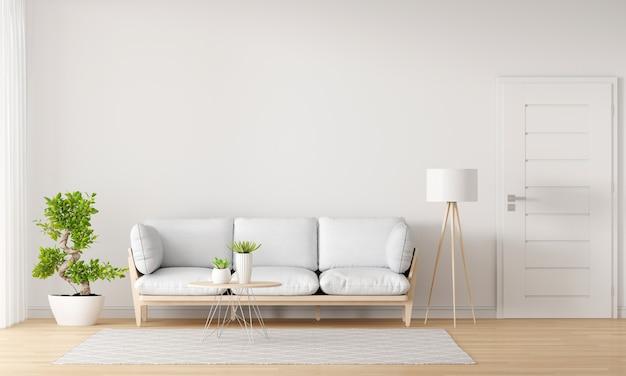 Sofa w białym salonie z miejscem na kopię
