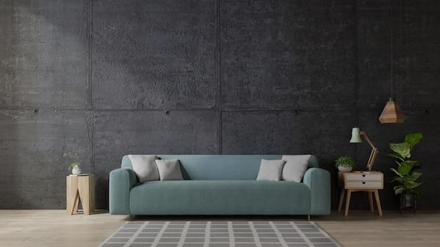 Sofa w nowoczesnym salonie z betonową ścianą.