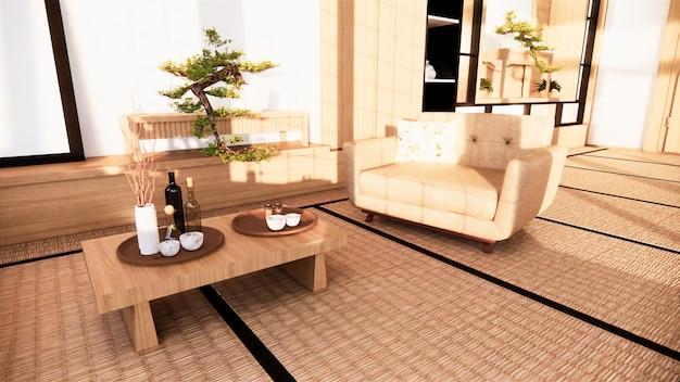 Sofa w stylu japońskim w pokoju. renderowanie 3d